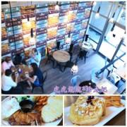 『新莊早午餐||下午茶』仿舊皮箱的美食旅行牆 ||豐滿總匯三明治早午餐 新莊中信店|| 平日限定騎士拼盤x黃城公園!