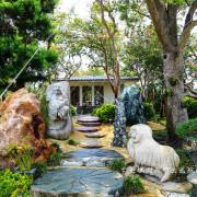 彰化。台灣銘園美術館。草木扶疏古樹石雕結合的藝術感