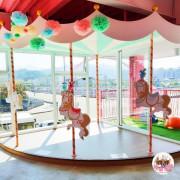 【台中】大坑情人橋,全家台中情人店,浪漫粉色登場,旋轉木馬、獨角獸擄獲大人小孩心。