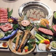 台中美食|羊角 炭火燒肉,可以選擇799吃到飽也有精緻套餐可以選擇,日澳和牛盛合全餐和牛燒烤讓人再三回味,幸福感破表的美味餐點