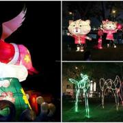 台中夜間景點|大里十九甲健康公園|可愛飛天豬、石虎花燈,共享美麗夜景