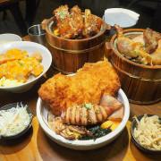 沐丼餵飽大食怪,肉多多丼飯,半隻烤雞、豬肋大份量主食蓋滿飯,當月壽星免費升級肉肉~
