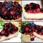 【台中乳酪蛋糕】水母吃乳酪-6吋莓果乳酪塔~90%紮實乳酪基體,蔓越莓、覆盆子、藍莓、自製果醬,香脆塔餅!