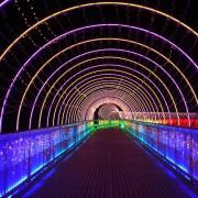 【南投市│景點】貓羅溪人行景觀橋。一道彩虹劃破夜晚的貓羅溪畔,七彩變幻燈光天橋,光之隧道,晚上散步挺浪漫