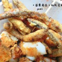 苗栗縣美食 攤販 鹽酥雞、雞排 和風花枝燒 照片