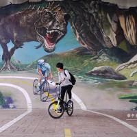 台北市休閒旅遊 景點 景點其他 華中橋3D互動式立體彩繪恐龍 照片