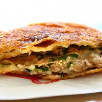 台南市美食 攤販 台式小吃 上海老爹蔥肉煎餅 照片