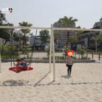 屏東市‧又一座新型共融公園,登上海盜船,奔馳白沙中...「永大共融公園」