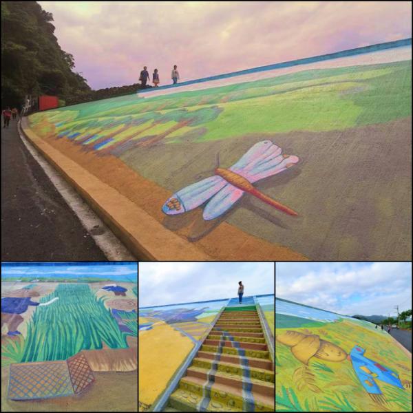 宜蘭縣 觀光 觀光景點 三星彩繪堤防⎪超大稻草人、彩繪階梯,立體小火車開到你眼前,堤防大變身,一起來同框拍照吧!