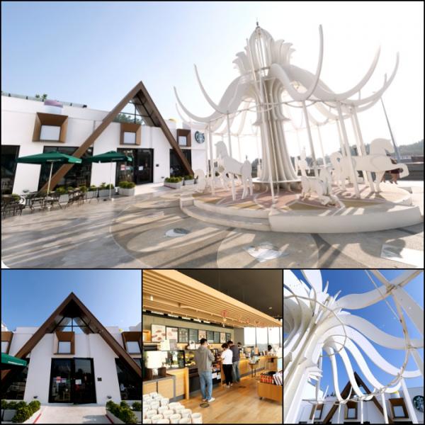 台中市 餐飲 咖啡館 台中》積木城堡星巴克~超夢幻純白色旋轉木馬,少女心噴發仙氣滿點。還有限定馬克杯、隨行卡可收!